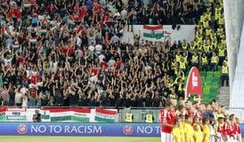 Hungría contra Países Bajos Partido 2016 de fútbol del calificador del euro de la UEFA de Rumania Imágenes de archivo libres de regalías