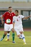 Hungría contra partido de fútbol de la República Checa Foto de archivo