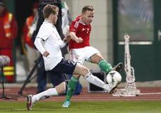 Hungria contra Noruega (0: ) jogo de futebol 2 amigável Fotos de Stock Royalty Free