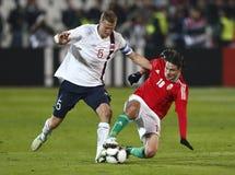 Hungria contra Noruega (0: ) jogo de futebol 2 amigável Foto de Stock Royalty Free