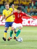 Hungria contra o jogo de futebol de Sweden Fotografia de Stock