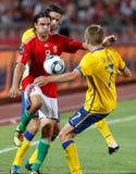 Hungria contra o jogo de futebol de Sweden Fotografia de Stock Royalty Free