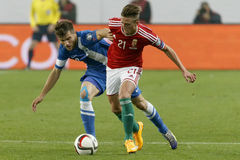 Hungria contra Países Baixos De Finlandia do UEFA do Euro do qualificador fósforo 2016 de futebol imagens de stock
