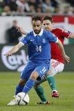 Hungria contra Países Baixos De Grécia do UEFA do Euro do qualificador fósforo 2016 de futebol Fotografia de Stock