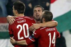 Hungria contra Países Baixos De Noruega do UEFA do Euro do qualificador do desempate fósforo 2016 de futebol Fotografia de Stock Royalty Free