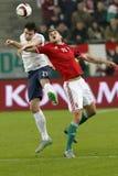 Hungria contra Países Baixos De Noruega do UEFA do Euro do qualificador do desempate fósforo 2016 de futebol Fotos de Stock