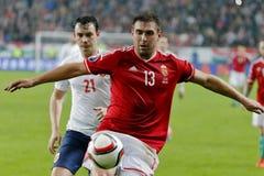 Hungria contra Países Baixos De Noruega do UEFA do Euro do qualificador do desempate fósforo 2016 de futebol Imagens de Stock