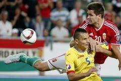 Hungria contra Países Baixos De Romênia do UEFA do Euro do qualificador fósforo 2016 de futebol Imagem de Stock
