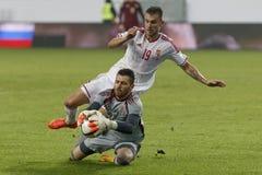 Hungria contra Países Baixos Fósforo de futebol amigável de Rússia Fotos de Stock