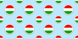 Hungria, fundo Teste padrão sem emenda da bandeira húngara Etiquetas redondas do vetor Símbolos do círculo Boa escolha para espor ilustração stock