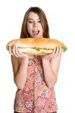 Hungrige Frau stockbild