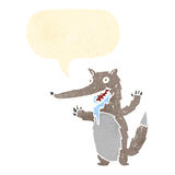 hungriger Wolf der Retro- Karikatur Lizenzfreie Stockfotos