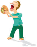 Hungry. The hungry person is going to eat a cheeseburger stock illustration