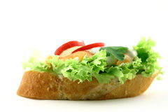 Hungry?. Side view at sandwich with tasty fresh salmon, radish and some addons on iceberg lettuce Stock Photo