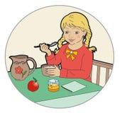 Hungry. Little blond girl at breakfast Stock Illustration