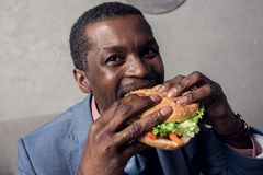 hungry african american man royalty free stock photo