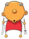 Hungry baby surprized. Illustration of a hungry baby with fork and knife in his hands looking for food Royalty Free Stock Images
