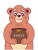 Hungry bear holds stock illustration