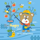 Hungry. Bear vector illustration for children clothes Royalty Free Stock Photography
