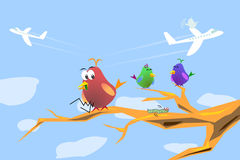 Hungry Bird Cartoon. Hungry bird looking for food, worm terrified. and other birds are happening in background Royalty Free Stock Image