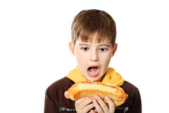 Hungry boy. Shot of a hungry boy with a tasty hot dog. Isolated over white background Royalty Free Stock Images