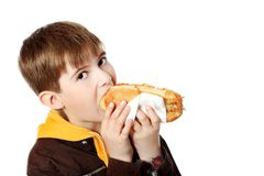 Hungry boy. Shot of a hungry boy with a tasty hot dog Stock Image