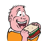 Hungry boy. Cartoon illustration of a hungry boy Stock Photography