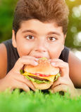 Hungry boy eating burger Stock Photography