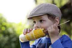 Hungry boy eating corn Stock Photo
