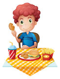 A hungry boy eating. Illustration of a hungry boy eating on a white background Royalty Free Stock Image