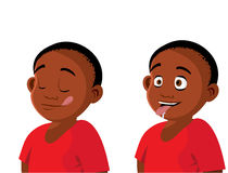 Hungry boy expressions. Cartoon vector illustration of a hungry boy expressions Royalty Free Stock Images
