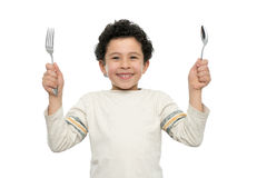 Hungry Boy Royalty Free Stock Photo