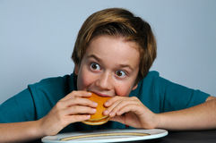 Hungry boy. Hungry school boy eating a cheeseburger stock photography