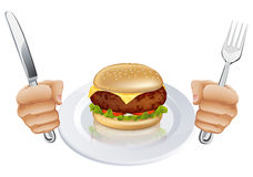 Hungry for a burger Royalty Free Stock Photography