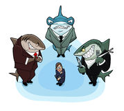 Hungry business sharks. Surrounded the young and inexperienced man Royalty Free Stock Image
