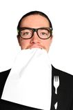 Hungry businessman. Funny hungry businessman eating paper Royalty Free Stock Photos