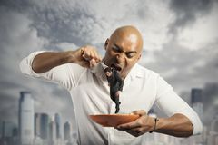 Hungry Businessman Stock Image