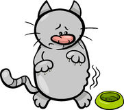 Hungry cat cartoon illustration Stock Image