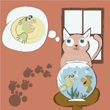 Hungry cat Stock Images