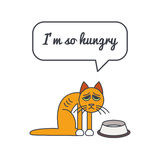 Hungry cat with speech bubble and saying. Skinny hungry cat with speech bubble and saying. Vector color line illustration card on white background. You can put Royalty Free Stock Image