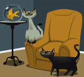 Hungry Cats and a Goldfish Royalty Free Stock Photos
