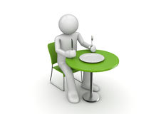 Hungry character waiting for a meal Royalty Free Stock Photos
