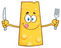 Hungry Cheese Cartoon Mascot Character Holding A Knife and Fork Stock Images