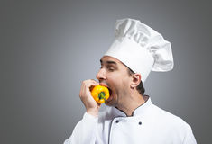 Hungry chef Royalty Free Stock Photography