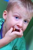 Hungry child. Portrait of a hungry boy eating chocolate cake Stock Photo