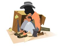 African man homeless isolated. Hungry and chilled African man sits near cardboard box royalty free illustration