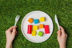 Hungry for creativity with wooden blocks close up Royalty Free Stock Photography