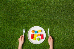 Hungry for creativity with wooden blocks Royalty Free Stock Photo