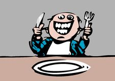 Hungry Diner expects Food. A hungry diner waits happily for dinner. He is crazy with joy Royalty Free Stock Image