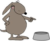 Hungry Dog. This illustration depicts a dog pointing to an empty food bowl Royalty Free Stock Images